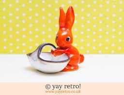 vintage rabbit orange vintage rabbit ornament vintage shop retro china