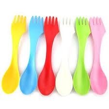 plastic utensils 6pcs fork knife cing hiking utensils spork combo travel gadget