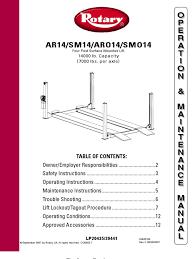 rotary aro14 smo14 owners manual elevator valve