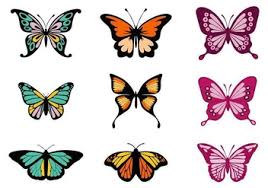 colorful butterfly vector set free vector 385845 cannypic
