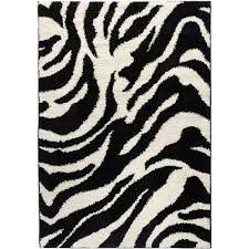 Black And White Zebra Area Rug Shag Plush Black And Ivory Zebra Print Area Rug 5 U0027 X 7 U00272 Free