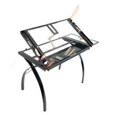 glass drafting table with light studio designs futura craft station with folding shelf