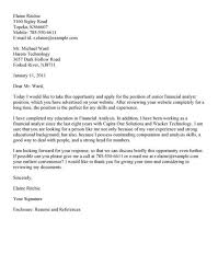 sample cover letter financial analyst cover letter financial