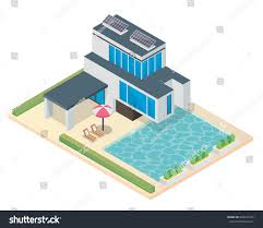 eco friendly house modern luxury isometric green eco friendly stock vector 684931252