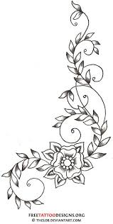 swirly vine and flower tattoo design tattoo ideas pinterest