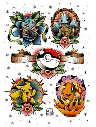 classic grey ink four pokemon tattoo design by canyx