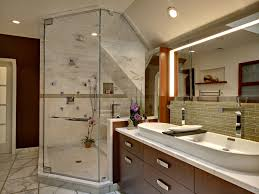 bathroom arched ceiling dual shower heads flat panel cabinets