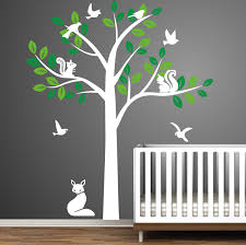 vinyl wall decal cute fox squirrel birds tree trees bird squirrels vinyl wall decal cute fox squirrel birds tree trees bird squirrels leaf home house art decals sticker stickers baby room kid