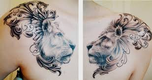 lion and lioness chest piece done by matt cowell at house of