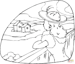 is looking at a country house coloring page free printable