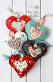 Fabric Heart Decorations Felt Heart More Ornaments To Make Pinterest Felting
