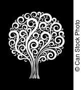 beautiful black and white abstract flower with leaves and