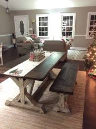 trestle farmhouse table bench set jacobean top and distressed