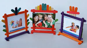 popsicle stick crafts how to make photo frames 4 different