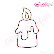 embroitique simple christmas candle embroidery design large
