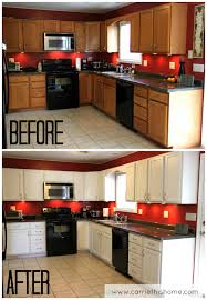 Repainting Oak Kitchen Cabinets Painting Wood Kitchen Cabinets White Before And After Floor