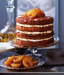 gourmet pears brown sugar sponge cake with caramel pears gourmet traveller