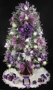 mini tabletop tree purple and silver 17 inches 35