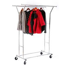 heavy duty double clothes rail garment dress hanging display stand