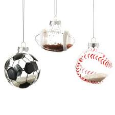 glitter filled sports themed glass ornaments