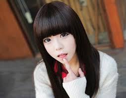 beautiful women hairstyle with sideburns fluffy stylish human hair straight full bangs with sideburns for