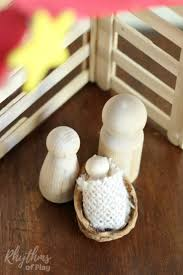 easy diy wooden peg doll holy family nativity scene rhythms of play