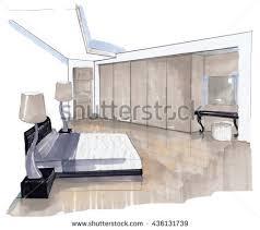 interior sketch design bedroom marker sketching stock illustration