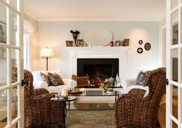Living Room Wicker Furniture Traditional Living Room Fireplace White And Brown Colors Wicker