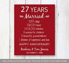 27 ans de mariage 27ème anniversaire de mariage cadeau pour les parents 27 ans