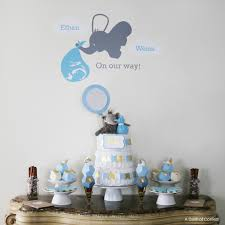 cookie monster baby shower geometric blue u0026 gold elephant baby shower