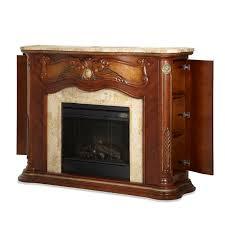 Michael Amini Furniture Aico Michael Amini Cortina Electric Fireplace In Honey Walnut