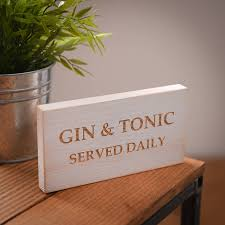 personalised gin and tonic wooden sign by edgeinspired
