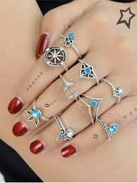 ring set faux mermaid teardrop ring set silver rings zaful
