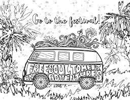 mini coloring book hippie vintage car a mini van ornamental background love and