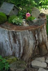 How To Make A Wood Stump End Table by Unleash Your Imagination U2013 Magical Fairy Garden Designs
