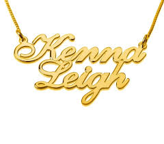 Double Plated Gold Name Necklace Personalized 18k Two Gold Names Mass Jewellery