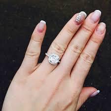 3 engagement ring carat cushion cut cz engagement ring