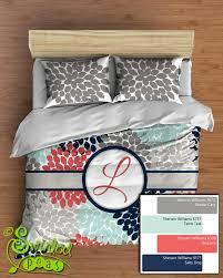 Duvet Comforter Set Dahlia Floral Comforter Or Duvet Bedding Set Monogrammed Navy