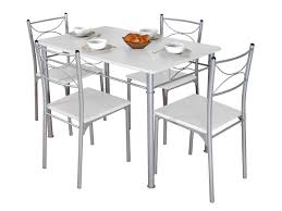 table de cuisine chaise ensemble table rectangulaire 4 chaises tuti coloris blanc gris