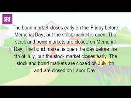 is the stock market closed on memorial day