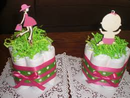 pregnant mom diaper cake baby shower centerpiece pink and