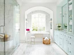 Bathroom White Tile Ideas A Basketweave Pattern Of Marble And Black Granite Dots Creates An