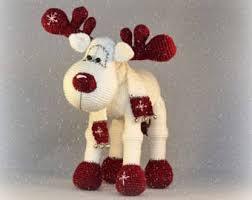 Stuffed Reindeer Christmas Decorations by Reindeer Toy Etsy
