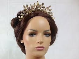 gold leaf headband bridal crown gold leaf headband with swarovski ready