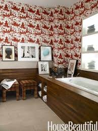 Toile Bathroom Wallpaper by 41 Best Red U0026 Pink Bathroom Design Ideas Images On Pinterest At