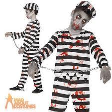 Prisoner Halloween Costumes Boys Zombie Convict Costume Halloween Kids Prisoner Child Fancy