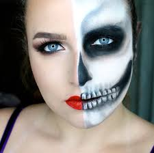Halloween Skeleton Face Makeup by Blend N Smack Halloween Tutorial 1 Half Skull Half Glam