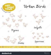 tiny small town urban birds cute stock vector 493337386 shutterstock