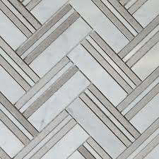 Marble Tile Kitchen Backsplash Herringbone Mosaic Dark Grey Tile Asian Carrara Marble Polished