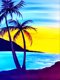 our paintings paints uncorked palm tree sunset by maria fraire